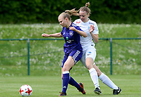 20180501 - TUBIZE , BELGIUM : Anderlecht's Sarah Wijnants pictured in a duel for the ball with Genk's Lore Vanschoenwinkel (right) during a womensoccer game between  RSC Anderlecht Dames and KRC Genk Ladies , during play-off 1 , at the Euro 2000 Center in Tubize , tuesday 1 st May 2018 . PHOTO SPORTPIX.BE | DAVID CATRY