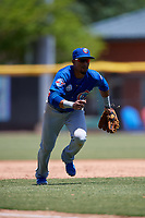 Tennessee Smokies third baseman Robel Garcia (4) during a Southern League game against the Jacksonville Jumbo Shrimp on April 29, 2019 at Baseball Grounds of Jacksonville in Jacksonville, Florida.  Tennessee defeated Jacksonville 4-1.  (Mike Janes/Four Seam Images)