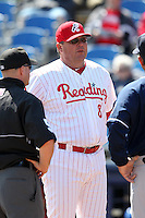 Reading Phillies manager Mark Parent #8 during a game against the New Hampshire Fisher Cats at FirstEnergy Stadium on May 5, 2011 in Reading, Pennsylvania.  New Hampshire defeated Reading by the score of 10-5.  Photo By Mike Janes/Four Seam Images