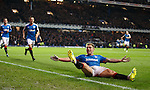 Martyn Waghorn celebrates his killer fourth goal with fellow Rangers goalscorers Jason Holt and Nicky Clark