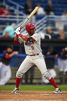 Auburn Doubledays third baseman Kelvin Gutierrez (5) at bat during a game against the Batavia Muckdogs on July 8, 2015 at Dwyer Stadium in Batavia, New York.  Batavia defeated Auburn 4-1.  (Mike Janes/Four Seam Images)