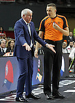 Fenerbahce Ulker Istambul's coach Zeljko Obradovic have words with the referee Sasa Pukl during Euroleague Semifinal match. May 15,2015. (ALTERPHOTOS/Acero)