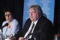 Montreal (QC) CANADA  - April 2012 File Photo -  Gaetan  Barrette, President FMSQ (L) and  Chloee Sainte-Marie (R) press conference Un Repit Pour La Vie