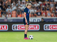 HOUSTON, TX - JUNE 13: Lindsey Horan #9 of the USWNT sets a penalty kick during a game between Jamaica and USWNT at BBVA Stadium on June 13, 2021 in Houston, Texas.