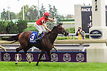Deceptive Vision(3) with Jockey Eurico Rosa Da Silva aboard runs to victory at the Canadian Stakes at Woodbine Race Course in Toronto, Canada on September 14, 2014 .