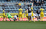 Dundee v St Johnstone…21.04.18…  Dens Park    SPFL<br />Sofien Moussa scores for Dundee<br />Picture by Graeme Hart. <br />Copyright Perthshire Picture Agency<br />Tel: 01738 623350  Mobile: 07990 594431