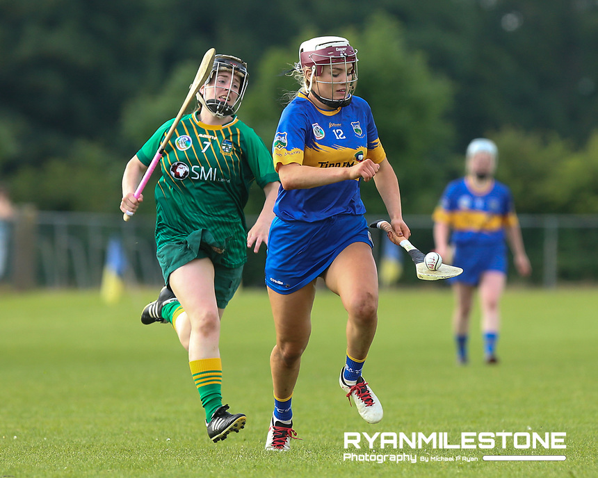 Tipperary's Orla O'Dwyer in action against Louise Donoghue of Meath during the Liberty Insurance All Ireland Senior Camogie Championship Round 1 between Tipperary and Meath at the Ragg, Co Tipperary. Photo By Michael P Ryan.
