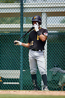 Pittsburgh Pirates Endy Rodriguez (32) on deck during a Minor League Spring Training intrasquad game on April 21, 2021 at Pirate City in Bradenton, Florida.  (Mike Janes/Four Seam Images)