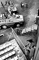 SADF soldiers guard prisoners at the end of an abortive coup d'etat in the Bophuthatswana homeland. Several coup plotters were killed by the South African army who propped up Bop President Lucas Mangope's regime and restored him to power within 14 hours.
