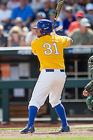 UC Santa Barbara Gauchos designated hitter Ryan Cumberland (31) at bat against the Miami Hurricanes in Game 5 of the NCAA College World Series on June 20, 2016 at TD Ameritrade Park in Omaha, Nebraska. UC Santa Barbara defeated Miami  5-3. (Andrew Woolley/Four Seam Images)