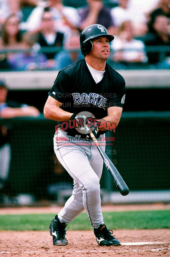 Todd Helton of the Colorado Rockies participates in a Major League Baseball Spring Training game during the 1998 season in Phoenix, Arizona. (Larry Goren/Four Seam Images)