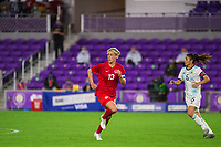 ORLANDO, FL - FEBRUARY 21: Sophie Schmidt #13 of the CANWNT runs toward the ball during a game between Argentina and Canada at Exploria Stadium on February 21, 2021 in Orlando, Florida.