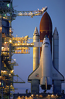A space shuttle on the launch pad..