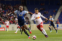 Harrison, NJ - Wednesday Feb. 22, 2017: Kendall Waston, Gonzalo Veron during a Scotiabank CONCACAF Champions League quarterfinal match between the New York Red Bulls and the Vancouver Whitecaps FC at Red Bull Arena.