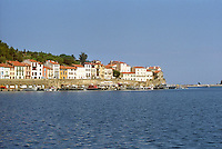 The fishing village Port Vendres close to the Spanish border in France, with boats and houses along the sea front, Languedoc-Roussillon, France