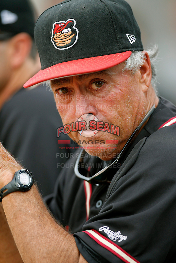 Modesto Nuts Manager Jerry Weinstein during a California League baseball game on July 22, 2007 at The Epicenter in Rancho Cucamonga, California. (Larry Goren/Four Seam Images)