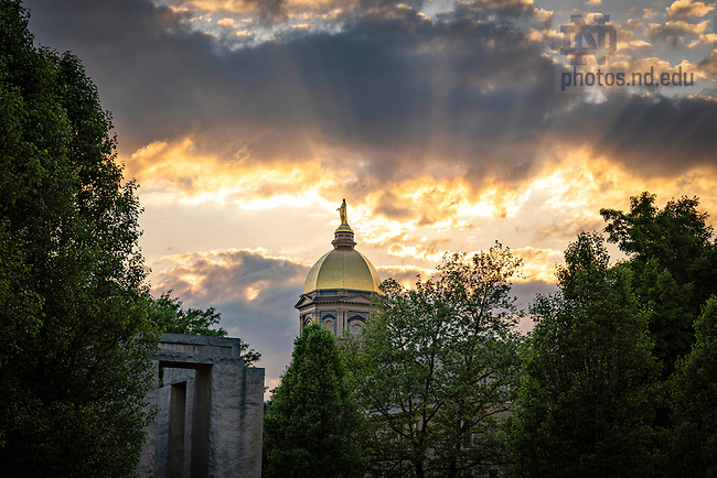 May 29, 2020; Sunset behind the Golden Dome (Photo by Matt Cashore/University of Notre Dame)