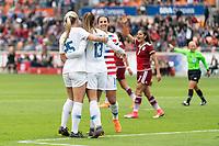 Houston, TX - Sunday April 08, 2018: Hailie Mace, Alex Morgan, Carli Lloyd during an International Friendly soccer match between the USWNT and Mexico at BBVA Compass Stadium.