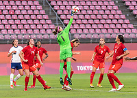 KASHIMA, JAPAN - AUGUST 2: Stephanie Labbe #1 of Canada makes a save during a game between Canada and USWNT at Kashima Soccer Stadium on August 2, 2021 in Kashima, Japan.