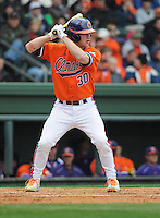 Catcher Garrett Boulware (30) of the Clemson Tigers in a game against the South Carolina Gamecocks on Saturday, March 2, 2013, at Fluor Field at the West End in Greenville, South Carolina. Clemson won the Reedy River Rivalry game 6-3. (Tom Priddy/Four Seam Images)