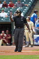 Home plate umpire Troy Fullwood makes a strike call during the game between the Florida State Seminoles and the North Carolina Tar Heels in the 2017 ACC Baseball Championship Game at Louisville Slugger Field on May 28, 2017 in Louisville, Kentucky. The Seminoles defeated the Tar Heels 7-3. (Brian Westerholt/Four Seam Images)