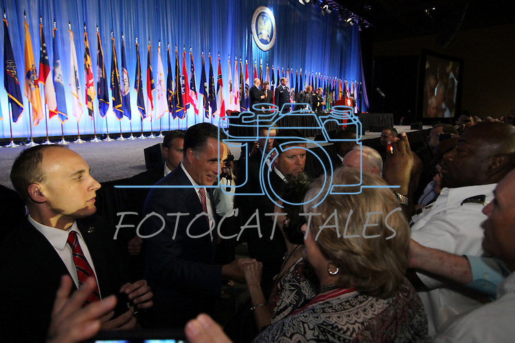 Republican presidential candidate Mitt Romney greets the crowd following his address at the 134th National Guard Association of the United States national convention in Reno, Nev., on Tuesday, Sept. 11, 2012..Photo by Cathleen Allison
