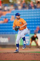 St. Lucie Mets relief pitcher Austin McGeorge (24) delivers a pitch during a game against the Daytona Tortugas on August 3, 2018 at First Data Field in Port St. Lucie, Florida.  Daytona defeated St. Lucie 3-2.  (Mike Janes/Four Seam Images)