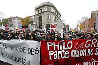 Manif des Etudiants contre la hausse des frais de scolarite, Novembre 2011<br /> <br /> PHOTO :   AGENCE QUEBEC PRESSE