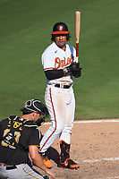 Baltimore Orioles Jahmai Jones (78) bats during a Major League Spring Training game against the Pittsburgh Pirates on February 28, 2021 at Ed Smith Stadium in Sarasota, Florida.  (Mike Janes/Four Seam Images)