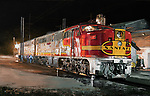 Santa Fe PA diesel units being serviced and fueled in the diesel yard at night.