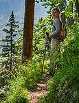 Deutschland, Bayern, Berchtesgadener Land, bei Schneizlreuth: Plattlingsteig - Wanderweg zur Harbacher Alm in den oestlichen Chiemgauer Alpen | Germany, Bavaria, Berchtesgadener Land, near Schneizlreuth: Plattlingsteig - steep track to Harbach Alpine Pasture Hut in the Eastern Chiemgau Alps
