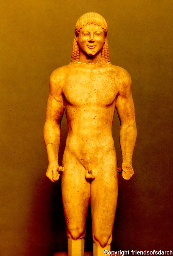 Greek Art:  Kouros (Statue of a Youth), around 530-520 B.C.  Greek Ministry of Culture, Athens.