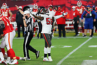 7th February 2021, Tampa Bay, Florida, USA;  Shaquil Barrett (58) of the Tampa Bay Buccaneers celebrates a sack during the Super Bowl LV game between the Kansas City Chiefs and the Tampa Bay Buccaneers on February 7, 2021 at Raymond James Stadium
