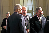 United States Attorney General Eric Holder, left, U.S. Senator Patrick Leahy (Democrat of Vermont), center, and U.S. Deputy Attorney General James Cole, right, speak prior to U.S. President Barack Obama's  remarks on signals intelligence programs and how they can be used to protect national security while supporting foreign policy and respecting privacy and civil liberties, at the Department of Justice in Washington DC, on January 17, 2014. <br /> Credit: Aude Guerrucci / Pool via CNP
