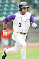 Micah Johnson (3) of the Winston-Salem Dash hustles down the first base line against the Frederick Keys at BB&T Ballpark on July 21, 2013 in Winston-Salem, North Carolina.  The Dash defeated the Keys 3-2.  (Brian Westerholt/Four Seam Images)