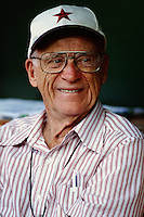 Former Detroit Tigers broadcaster Ernie Harwell before a game against the Anaheim Angels at Angel Stadium circa 1999 in Anaheim, California. (Larry Goren/Four Seam Images)