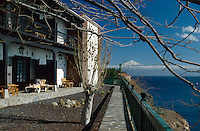 Spanien, Kanarische Inseln, Gomera, San Sebastian, Parador Conde de la Gomera, Blick auf Teide