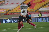 BOGOTA - COLOMBIA, 13-12-2020:  Fany Gauto de Santa Fe celebra después de anotar el primer gol de su equipo durante partido por la final  como parte de la Liga Femenina BetPlay DIMAYOR 2020 entre Independiente Santa Fe y America de Cali jugado en el estadio Nemesio Camacho El Campin de la ciudad de Bogotá. / Fany Gauto of Santa Fe celebrates after scoring the goal final match as part of Women's BetPlay DIMAYOR 2020 League between Independiente Santa Fe and America de Cali played at Nemesio Camacho El Campin  stadium in Bogota. Photo: VizzorImage / Felipe Caicedo / Staff