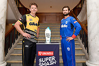 Michael Bracewell, captain of the Wellington Firebirds and Maddy Green, captain of the Wellington Blaze (L-R)Super Smash Captains photo opportunity at Basin Reserve, Wellington on Wednesday 23 December 2020.<br /> Copyright photo: Masanori Udagawa /  www.photosport.nz