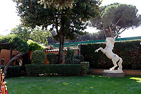 A statue of the horse Nestore that he saved from being killed because of his age and that become the 'main actor' of the film Nestore, during the opening of the actor Alberto Sordi''s house museum in Rome. In occasion of the centenary of his  birth, the villa in the heart of Rome, where he lived from 1959 to death, was opened to the public, becoming a house-museum. The house still contains thousand of objects belonged to the actor. In the garden two more tensile structures were added, containing stage clothes, posters of his films, photos and much more. <br /> Rome (Italy), September 15th 2020<br /> Photo Samantha Zucchi Insidefoto