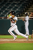 Bowie Baysox shortstop Erick Salcedo (9) follows through on a swing during the second game of a doubleheader against the Trenton Thunder on June 13, 2018 at Prince George's Stadium in Bowie, Maryland.  Bowie defeated Trenton 10-1.  (Mike Janes/Four Seam Images)