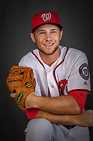 22 February 2019: Washington Nationals infielder Carter Kieboom poses for his Photo Day portrait at the Ballpark of the Palm Beaches in West Palm Beach, Florida. Mandatory Credit: Ed Wolfstein Photo *** RAW (NEF) Image File Available ***
