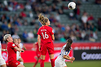 CARSON, CA - FEBRUARY 07: Janine Beckie #16 of Canada heads ball during a game between Canada and Costa Rica at Dignity Health Sports Complex on February 07, 2020 in Carson, California.