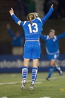 Boston Breakers midfielder-forward Kristine Lilly (13) celebrates her goal. The Boston Breakers defeated Saint Louis Athletica, 2-0, at Harvard Stadium on April 11, 2009.