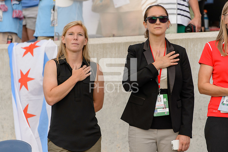 Chicago, IL - Saturday July 30, 2016: Lori Chalupny, Alyse LaHue prior to a regular season National Women's Soccer League (NWSL) match between the Chicago Red Stars and FC Kansas City at Toyota Park.