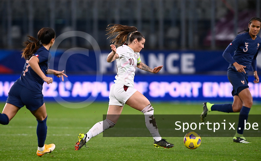 Swiss Ramona Bachmann (10) pictured in action during the Womens International Friendly game between France and Switzerland at Stade Saint-Symphorien in Longeville-lès-Metz, France.