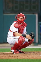 Harrisburg Senators catcher Spencer Kieboom (20) looks to the dugout during a game against the New Hampshire Fisher Cats on June 2, 2016 at FNB Field in Harrisburg, Pennsylvania.  New Hampshire defeated Harrisburg 2-1.  (Mike Janes/Four Seam Images)