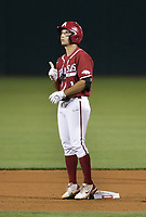 Arkansas infielder Robert Moore (1) reacts, Saturday, June 5, 2021 during the eighth inning in the second game of the NCAA Fayetteville Regional at Baum-Walker Stadium in Fayetteville. Check out nwaonline.com/210606Daily/ for today's photo gallery. <br /> (NWA Democrat-Gazette/Charlie Kaijo)