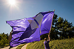 A parade of soccer fans on their way to the game on campus at University of Portland.