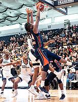 WASHINGTON, DC - NOVEMBER 16: Mohamed Camara #14 of Morgan State shoots a basket during a game between Morgan State University and George Washington University at The Smith Center on November 16, 2019 in Washington, DC.